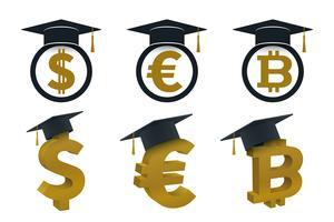 Concepten afstuderen cap met valuta