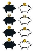 Spaarvarken pictogrammen met munten vector