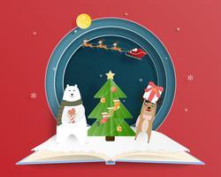 Kerstmis en gelukkig nieuwjaarskaart in papier gesneden stijl
