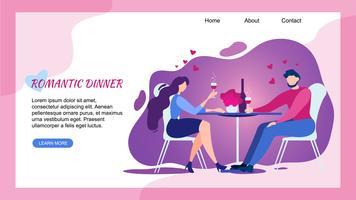 Romantisch diner in Restaurant Man Woman Cheers vector