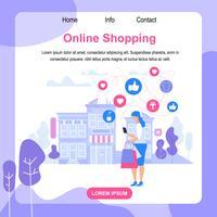 Vierkante banner met kopie ruimte. Online winkelen.