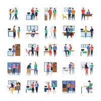 Werk in uitvoering en Office Flat Icon Pack
