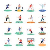 Pack van sport speler pictogrammen