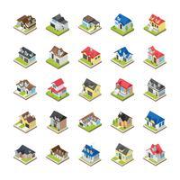 Moderne gebouwen pictogrammen vector