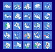 Zakelijke grafieken icon pack vector
