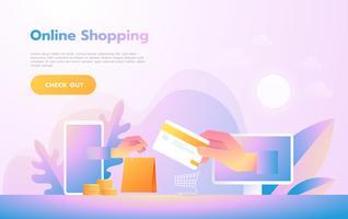 Modern plat ontwerp mensen en bedrijfsconcept voor M-commerce, gemakkelijk te gebruiken en zeer aanpasbaar. Modern vector illustratie concept.