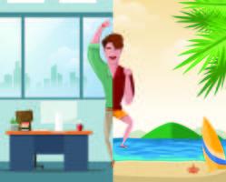 Half werk en halve vakantie vector