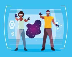 man en vrouw met behulp van technologie van augmented reality