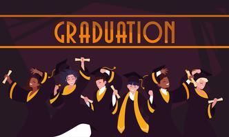 Afstuderen studenten in viering ontwerp vector