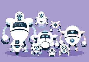 Robotbeeldverhaal over purpere achtergrond wordt geplaatst die vector