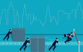 De zakenmancompetion duwt het obstakel en loopt gaat naar de afwerkingslijn naar doel om succes op blauwe achtergrond te bereiken. leiderschap. creativiteit idee. Zakelijk voordeel concept. Vector illustratie