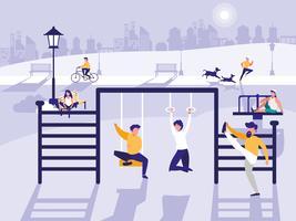 mensen in park met geïsoleerde speelplaats pictogram vector