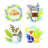 Set ansichtkaart geschreven I Love Summer