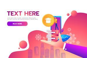 Online onderwijs webpagina vector
