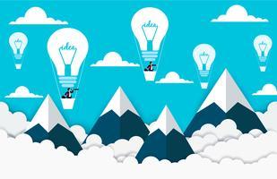 Creatief denken. Zakenlieden die in hete luchtballons vliegen in de hemel