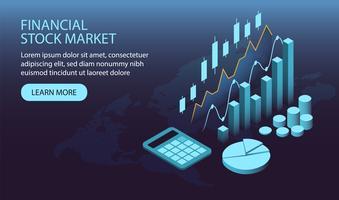 Isometrische financiële aandelenmarkt webpagina