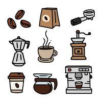 Handgetekende koffie doodle set vector