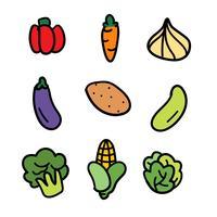 Handgetekende Plantaardige Doodle Set vector