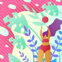 Damesvolleybal in de zomer op vakantie