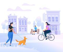 Jongeren personages wandelen in de stad vector