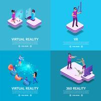 360 virtuele realiteit vierkante banners set vector