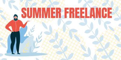 Platte banner met inscriptie freelance zomer vector