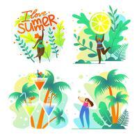 Poster I Love Summer Fruit en Exotic instellen vector