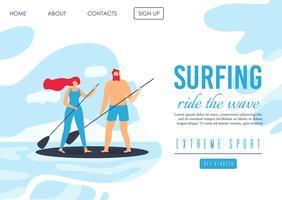 Landingspagina Adverteren Romantisch Extreme Surfen vector