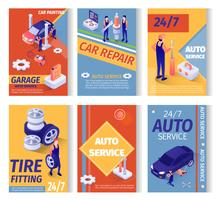 Set van sociale advertenties voor autoreparatieservice vector