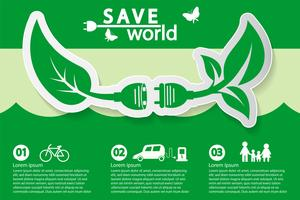 wereld met milieuvriendelijke conceptideeën vector