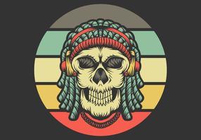 schedel met dreadlocks die hoofdtelefoons dragen vector