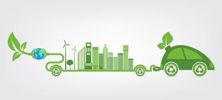 Ecologie en milieu stadsgezicht vector