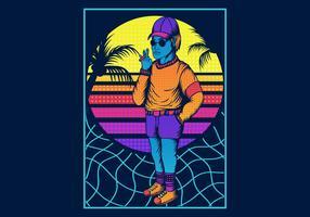 Man roken in Retro 80s stijl vector