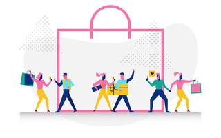 Karakter in winkelen concept illustratie