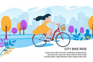 Happy cartoon meisje fietser fiets stad straat vector