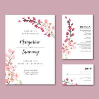 Happy Wedding card bloementuin uitnodigingskaart