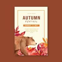 Herfst seizoen Poster lay-out vector
