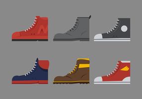 Sneakers, laarzen en schoenen zijaanzicht vector