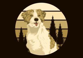 Hond buiten voor retro zonsondergang vector