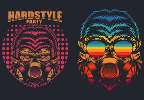 retro gorilla masker vector