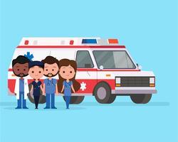 Ambulance met tekens vector