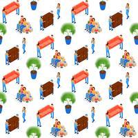 Porters dragen meubels naadloos patroon vector