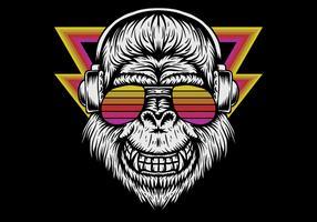 retro gorilla hoofdtelefoon dragen vector