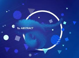 Blauwe veren met geometrisch vormenontwerp