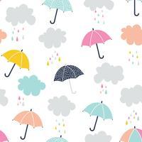 Schattig paraplu naadloos patroon
