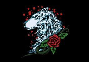 wolvenkop met roos vector