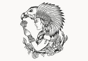 vrouwelijke inheemse Amerikaan en adelaar vector