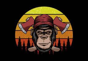 aap houthakker voor retro zonsondergang vector