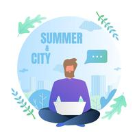 Flat Flyer inscriptie zomer stad belettering vector