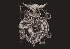 Schedel kraken met anker vectorillustratie